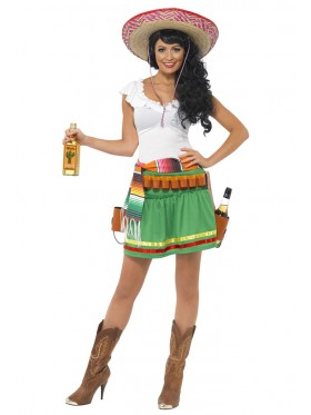 Ladies Tequila Shooter Girl Mexican Women Halloween Adult Costume