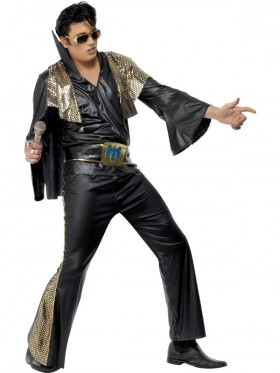 Elvis Presley Black Gold Licensed Costume Rock and Roll 50s 1950s Rock Star