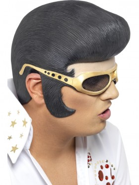 ELVIS Headpiece Rock n Roll The King 1950s Mens Costume Accessories Wig Glasses  Las Vagas Fancy Dress