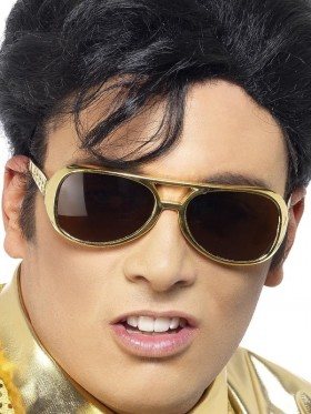 Gold Shades Elvis Presley Costume Sunglasses Glasses Party 50s Rock & Roll Accessory