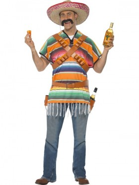 Adult Mens Tequila Shooter Guy Mexican Funnyside Funny Wild West Mexico Fancy Dress Costume