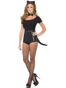 Womens Instant Cat Set Kit Fancy Dress Costume Black Ears Bow Tie Tail Halloween Hen Night
