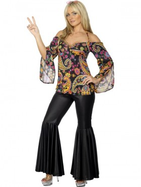 Ladies 60s 70s Go Go Retro Hippie Dancing Groovy Disco Fancy Dress Costume