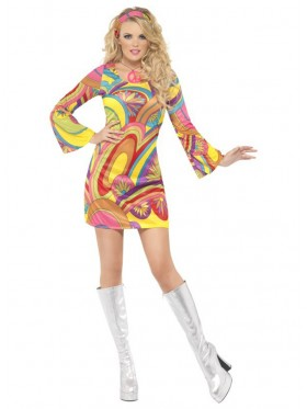 Ladies Flower Power 60s 70s Go Go Retro Hippie Groovy Hippy Disco Fancy Dress Costume