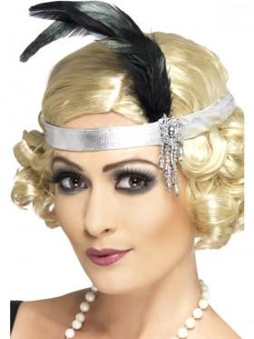 1920s Silver Satin Flapper Charleston headband Elasticated Headpiece Ladies Costume Accessories