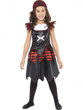 Pirate Skull Crossbones Caribbean Kids Girls Gothic Fancy Dress Book Week Costume