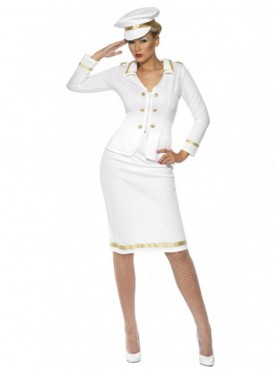 Smiffys Licensed Womens Officer's Mate Sailor Captain Navy Fancy Dress Costume Pilot Outfitit