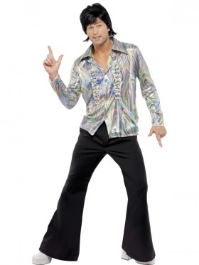 1960s 70s Hippie Disco Dancer Man Adult Mens Retro Halloween Fancy Dress Up Costume