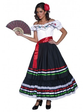 LADIES AUTHENTIC WESTERN SEXY SENORITA TRADITIONAL MEXICAN SPANISH DRESS COSTUME