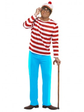 Mens Wheres Wally Waldo Adult Licensed Cartoon Costume Book Week Outfit