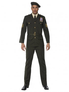 Adult Mens Wartime Officer Male Army Smiffys Fancy Dress Costume