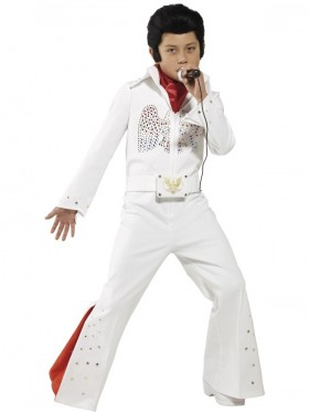 Kids Elvis Presley Jumpsuit Boys Costume 1950's Rock Star Famous Music Singer Fancy Dress