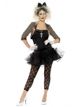 Womens Madonna 1980s Wild Child Pop Diva 80s Clothing Fancy Dress Up Party Rock Costume