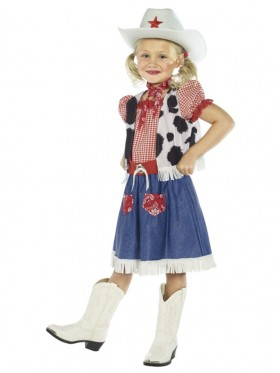 Cowgirl Sweetie Kids Girls Childrens Western Wild West Cowboy Dress Costume + Hat