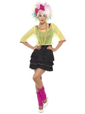 Ladies Smiffys Pop Tart Disco Dancer Costume 1980s 80s Outfit Rock Retro Punk Dress Costume Madonna Cyndi Lauper