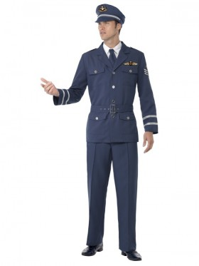 Adults Smiffys Male Mens High Flyer  WW2 Air Force Captain Costume WW2 Air Force Captain Captain Fancy Dress Costume