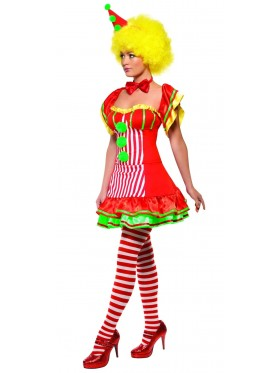 Ladies Boo Boo the Clown Costume Adult Circus Fancy Dress Women Hen Party Outfit