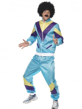 Mens 80s Height Fashion Scouser Tracksuit Shell Suit Costume Scouser 1980s Fancy Dress