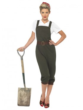 Ladies WW2 Land Girl World War 2 Outfit Wartime 1940s Army Fancy Dress Costume
