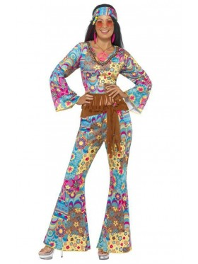 Ladies Flower Power 60s 70s Retro Hippie Go Go Girl Disco Licensed Costume Fancy Dress Hen Xmas Party