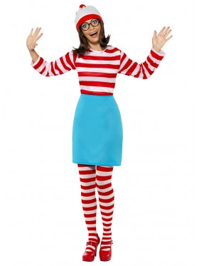 Licensed Wheres Wally Ladies Costume 80s Wenda Wendy Womens Cartoon Smiffys Fancy Dress