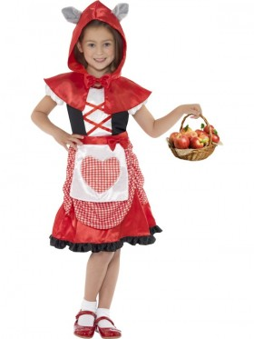 Miss Hood Little Red Riding Book Week Storybook Fancy Dress Girls Kids Party Costume