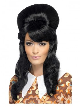 Ladies Black 60s Brigitte Bouffant Wig