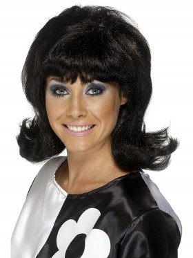 Adult Womens 60s Flick Up Wig Black Short Wigs Smiffys Fancy Dress Costume Accessories