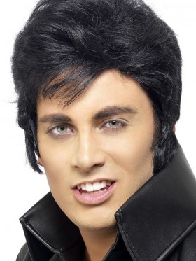 Rock Star Elvis Presley Las Vegas Wig Deluxe Black Hair Piece 50s 60s Grease Halloween Costume Accessory