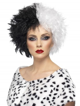Female Adult Evil Madame Wig Smiffys Ladies Licensed Evil Madame Costume Cruella De Vil 101 Dalmations Fancy Dress Accessories