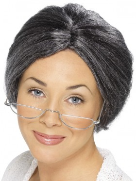 Old Lady Grandma Grey Granny Bun Wig Grandmother Costume Accessory