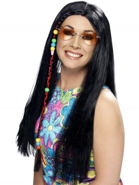 Adult Womens Hippy Party Wig Black Long with Coloured Beads Smiffys Fancy Dress