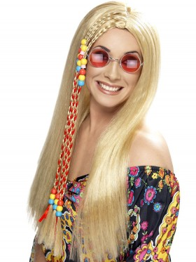 Adult Womens Hippy Party Wig Blonde Long with Coloured Beads Smiffys Fancy Dress