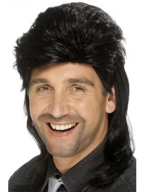 Black Mullet Wig Fancy Dress Costume Accessory 70s 80s 80's Adult Mens Punk