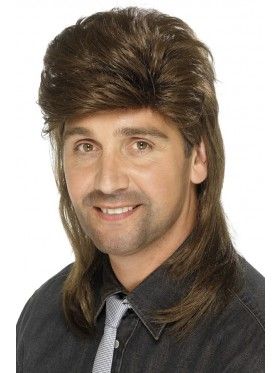 Brown Mullet Wig Fancy Dress Costume Accessory 70s 80s 80's Adult Mens Punk Fancy