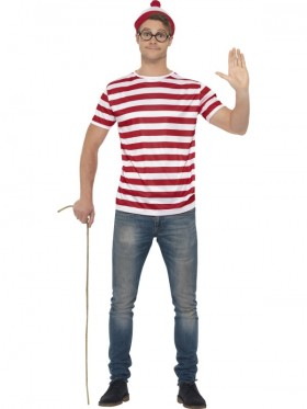 Mens Where's Wally Waldo Costume Kit Top Hat Glasses Book Week T-Shirt Outfit