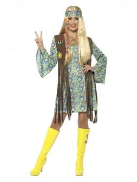 Ladies 60s Hippie Chick Disco 1970s Retro Go Go Dance Costume