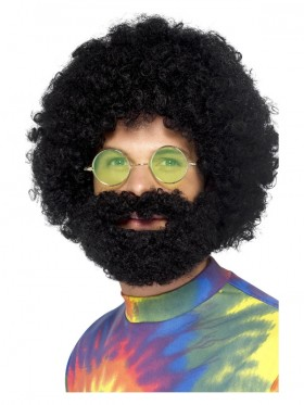 MENS GROOVY DUDE AFRO WIG AND BEARD