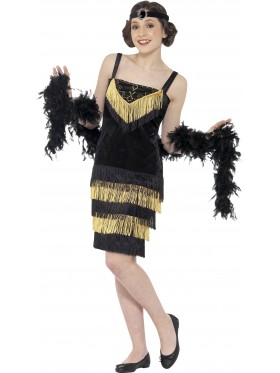 Teen 20s 1920s Charleston Gatsby Girl Flapper Burlesque Fancy Dress Costume