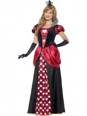 Adult Womens Royal Red Queen of Hearts Alice Book Week Storybook Costume Fancy Dress Gown Outfit