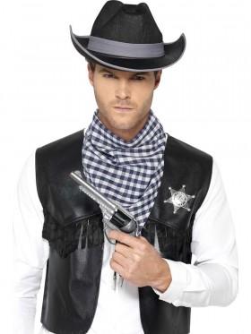 Adult Mens Western Kit Black Waistcoat Cowboy Ladies Sheriff Western Indians Book Week Outfit Fancy Dress
