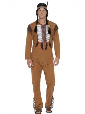Adult Mens Native Western Warrior Costume Cowboys American Wild West Indians Fancy Dress