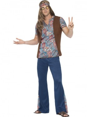 Adult Mens Orion The Hippie Costume 1960s 60s Groovy Hippy Funny Trousers Medallion
