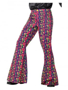 Mens 60s Psychedelic CND Flared Trousers