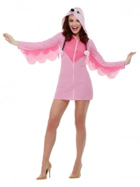 LADIES ADULT PINK FLAMINGO COSTUME