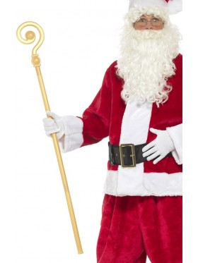 Extendable Crozier Staff Christmas Nativity King Santa Gold Prop Bishop Costume Accessory