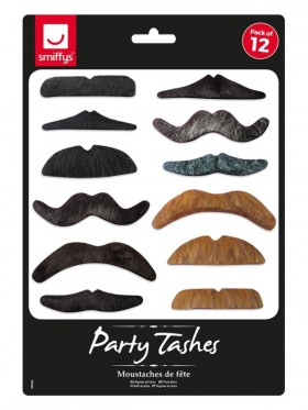 Party Tashes 12 Pack Costume Accessory