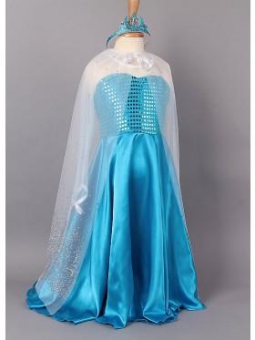 Girl Dress Disney Frozen Elsa Party Birthday Fancy Costume Dress + Cape + Crown