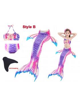 Kids Mermaid Tail Monofin Swimsuit Costume
