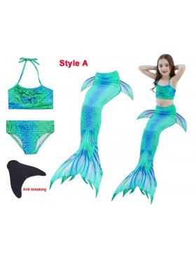 Kids Mermaid Tail With Monofin Bikini Swimsuit Costume